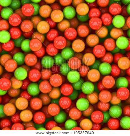 Colorful red to green glossy balls background.