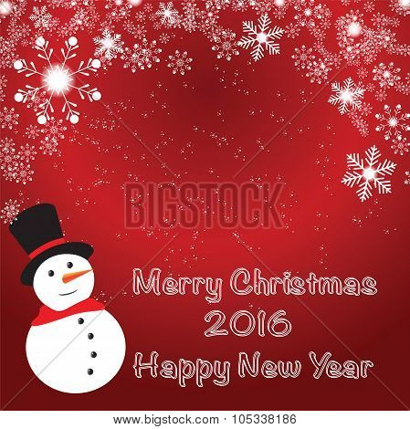Abstract Christmas On Red Background. Vector Illustration.