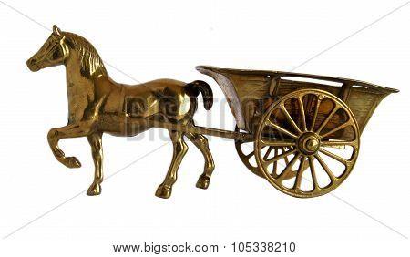 Bronze Horse Cart Sculpture