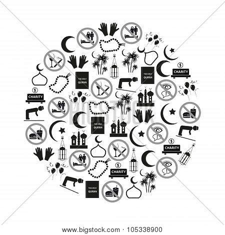 Ramadan Islam Holiday Icons Set In Circle Eps10