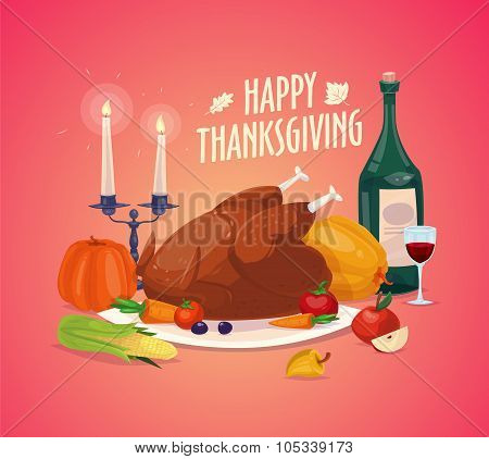 Beautiful, colorful illustration Happy Thanksgiving celebration, can be use as flyer, poster or bann