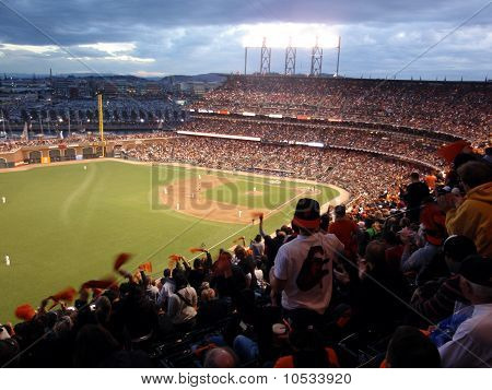 Giants Fans Cheer Waving Rags In Anticipation Of Upcoming Pitch