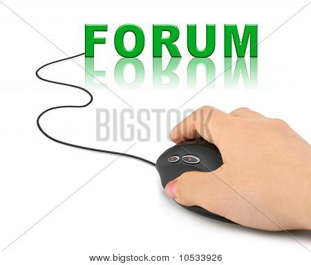 Hand With Computer Mouse And Word Forum