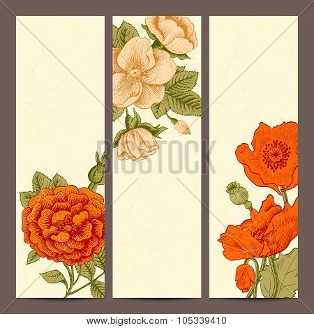 A set of vertical banners with vintage flowers.