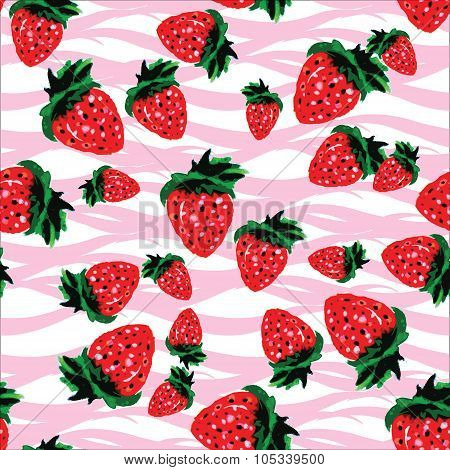 Seamless Pattern  Made Of Strawberries Of Different Shapes And S