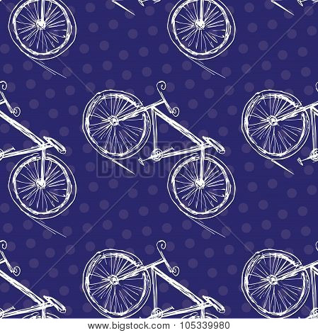Bicycle Seamless Pattern On A Colored Background