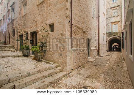 Street angle in the Old Town in Dubrovnik, Croatia, mediterranean ambient