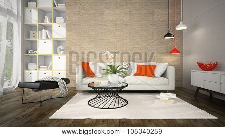 Interior of modern design room with cork wall 3D rendering
