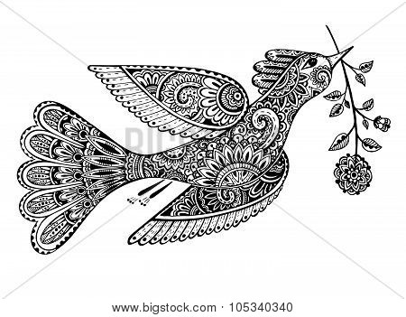 Hand Drawn Illustration Of Ornamental Fancy Bird With Flower.