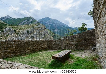 Cozy Corner Among Walls Of Citadel Overlooking Mountains, Old Bar, Montenegro