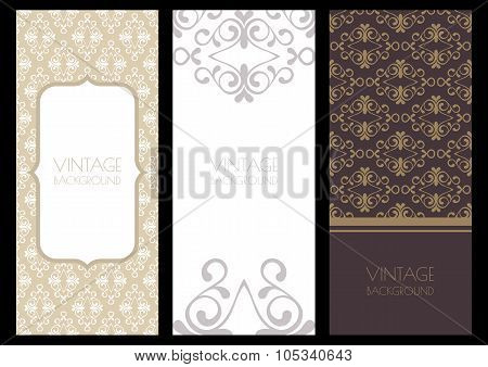 Set Of Vector Flourish Banner Backgrounds And Seamless Pattern.