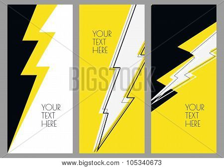 Set Of Abstract Banner Backgrounds With Lightning.