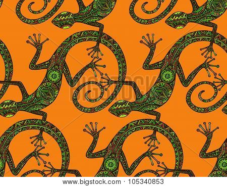 Vector Hand Drawn Seamless Pattern With  Lizards  Or Salamanders