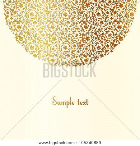 Luxury vintage floral element semicircle.