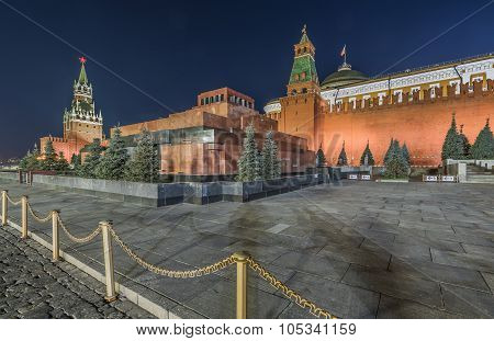 The Lenin Mausoleum On Red Square At Night.