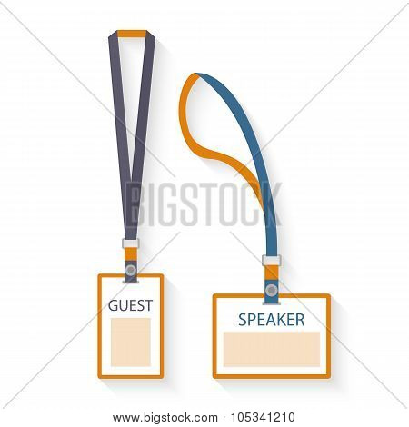 Template, flat design icons of lanyard and badge