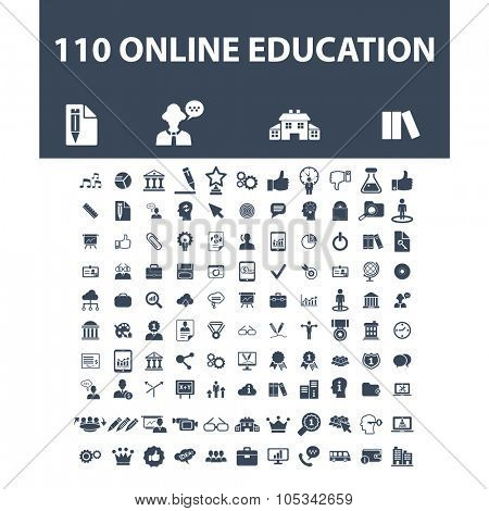 online education, learning, study, school, lesson, training icons