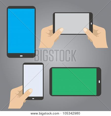 Hands Hold The Phone In Horizontal And Vertical Position