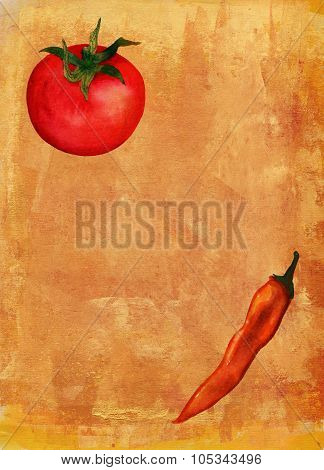 Menu page template with artistic background, watercolor drawings of tomato and chilli pepper