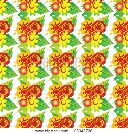 Seamless Pattern With  Flowers On White