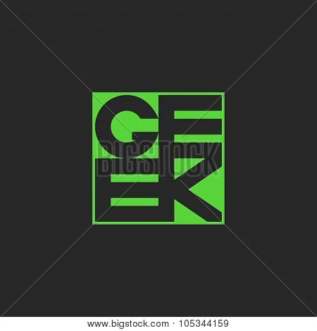 Geek Text In Green Quadratic Shape, Mockup Youth T-shirt Print, Template Cool Typography Graphic Des