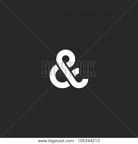 Ampersand Logo Monogram, Typography Hipster Black And White Design Element For Wedding Invitation Or