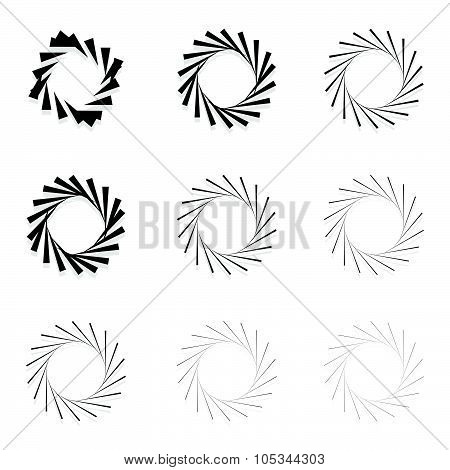 Abstract Radial Elements, Radiating Lines. Set Of 9 Version With Different Widths. Sunburst, Starbur