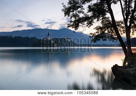 Bled Island And Castle At Dawn, Slovenia