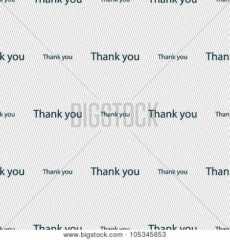 Thank You Sign Icon. Gratitude Symbol. Seamless Abstract Background With Geometric Shapes. Vector