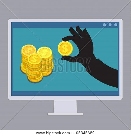 Thief stealing money of computer