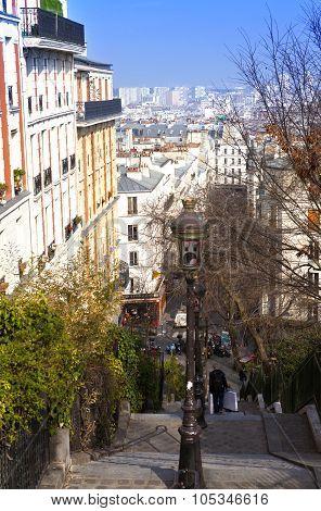 Narrow medieval street near Montmartre Paris France