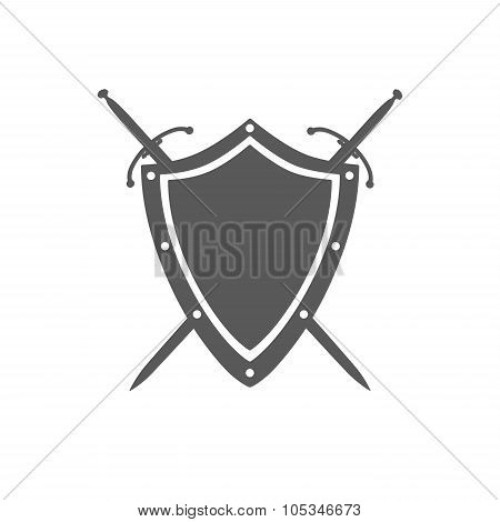 Gray Shield And Two Crossed Swords Under It Isolated On White Background