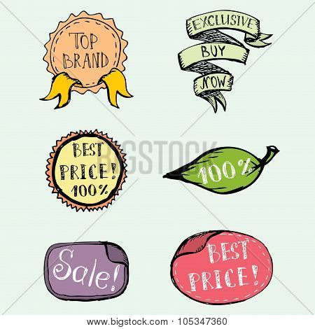 Hand Drawn colored Doodle label, ribbon and Design Elements
