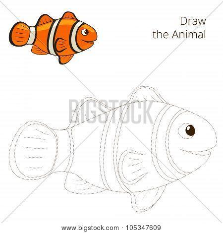 Draw the fish animal clownfish educational game