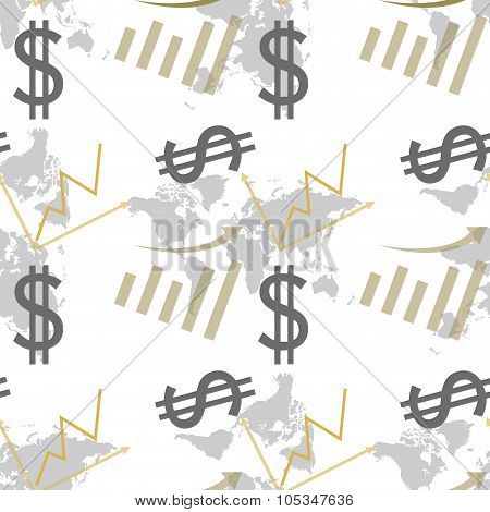 Seamless Pattern Dollar And Chart .