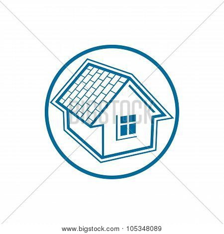 Country House Constructed With Bricks, Home Symbol. Real Estate Vector Conceptual Icon For Advertisi