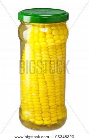 The corn preserved in a glass jar