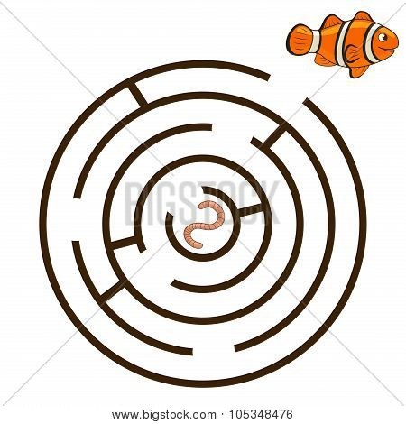 Game labyrinth find a way clownfish vector