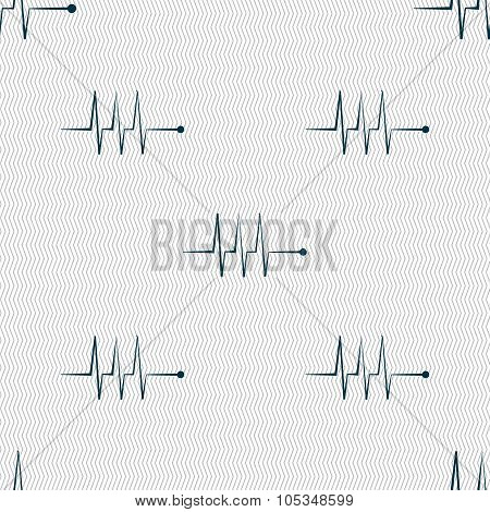 Cardiogram Monitoring Sign Icon. Heart Beats Symbol. Seamless Abstract Background With Geometric Sha