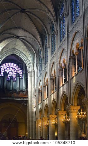 PARIS FRANCE MARCH 14 2012: Interior view of Notre Dame Cathedral on March 14 2012 in Paris France