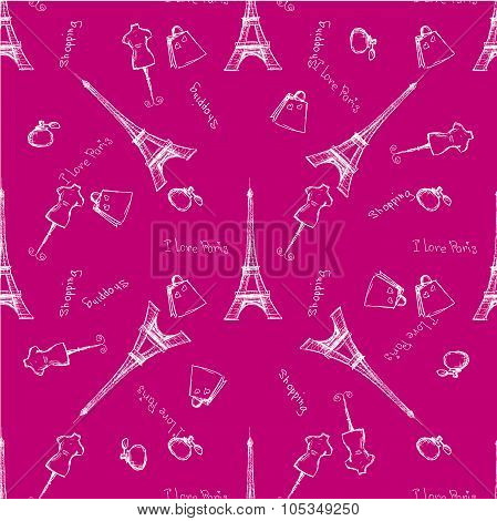 Seamless pattern Eiffel Tower