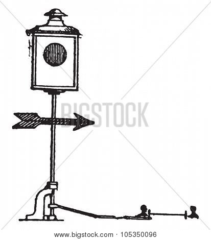 Station needle entry signal, vintage engraved illustration. Industrial encyclopedia E.-O. Lami - 1875.