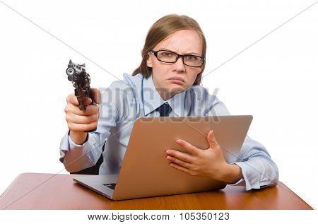 Office employee wth handgun isolated on white