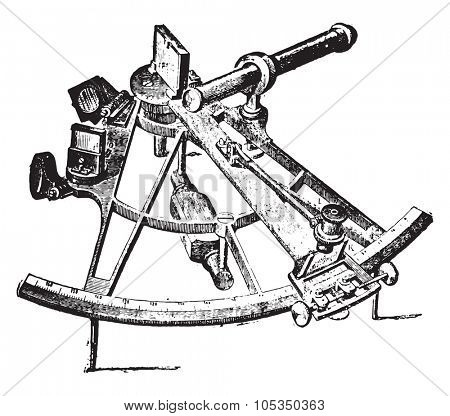 Sextant, vintage engraved illustration. Industrial encyclopedia E.-O. Lami - 1875.