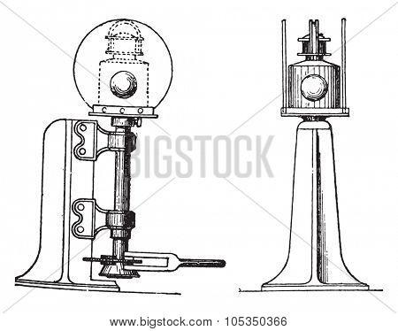 Indicator needle in England, vintage engraved illustration. Industrial encyclopedia E.-O. Lami - 1875.