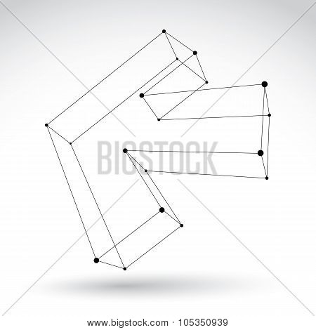 3D Mesh Black And White Backward Arrow Isolated On White Background, Monochrome Sketch Pointer Icon,