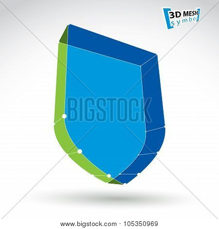 3D Mesh Web Blue Security Icon Isolated On White Background, Colorful Shield Symbol, 3d