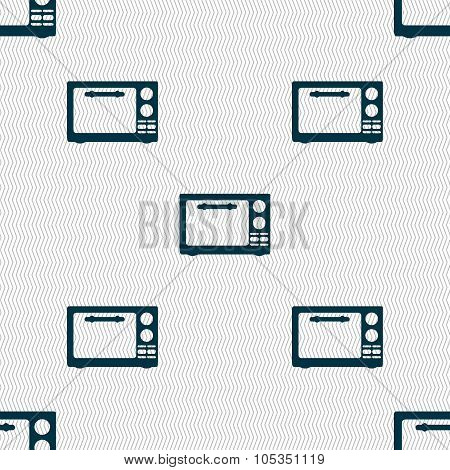 Microwave Oven Sign Icon. Kitchen Electric Stove Symbol. Seamless Abstract Background With Geometric