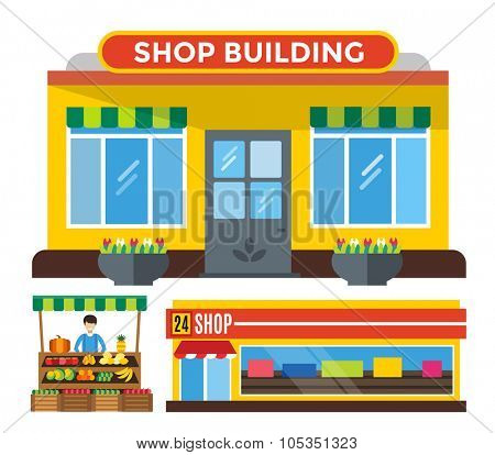 Shop buildings and fruits stall. Shop building silhouette, shop vector building. Fruits shop, shop building. Some shop vector illustration. Shop kiosk vector outdoor. Shop building, fruits shop