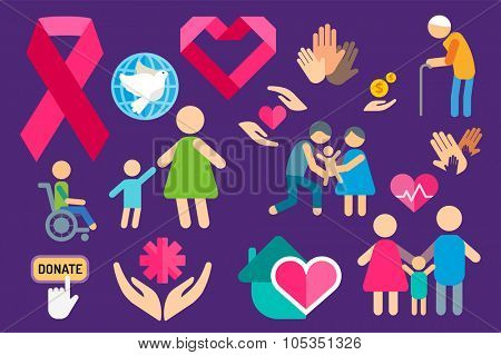 Charity care flat icons set. Care vector logo icons. Care silhouette isolated. Care, abstract hands logo, heart logo, old people care logo, child care logo, care logo, togetherness concept,family logo